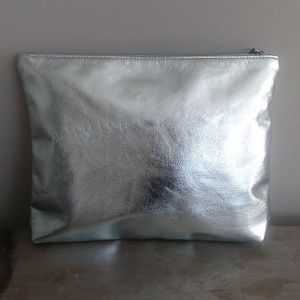 Free People Blue Metallic Pouch Bag Clutch Large
